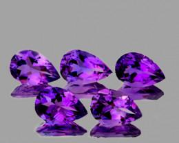 8x5 mm Pear 5 pcs 3.68cts Purple Amethyst [VVS]