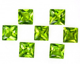 4.20 Cts Natural Parrot Green Peridot 5mm Princess Cut 7Pcs Pakistan