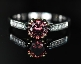 CERTIFIED 1.08CT UNHEATED PADPARADSCHA SAPPHIRE & DIAMOND 2-TONE 18K GOLD R