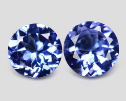 0.97 Cts 2pcs Amazing rare Violet Blue Color Natural Tanzanite Gemstone