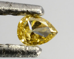 Glorious!! 0.10 Cts Natural Untreated Diamond Fancy Yellow Pear Cut Africa