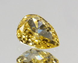 Marvelous!! 0.11 Cts Natural Untreated Diamond Fancy Yellow Cushion Cut Afr