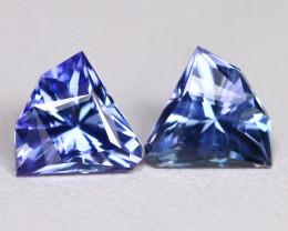 Tanzanite 1.60Ct VVS Master Cut Natural Purplish Blue Tanzanite Pair BT0041