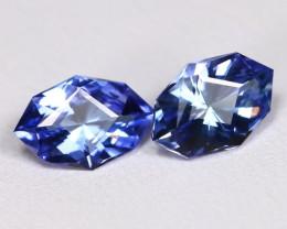 Tanzanite 1.42Ct VVS Master Cut Natural Purplish Blue Tanzanite Pair BT0043