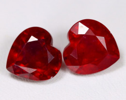 Red Ruby 10.30Ct 2Pcs Heart Cut Pigeon Blood Red Ruby C1605