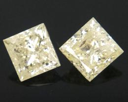 2pcs/0.96 CTS , Near Colorless Diamonds , Natural Princess Cut