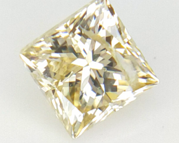 0.27 CTS , Light Yellow Diamond , Natural Princess Diamond