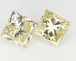 0.31 cts , Pair of Natural Diamonds ,  Yellow Natural Diamonds