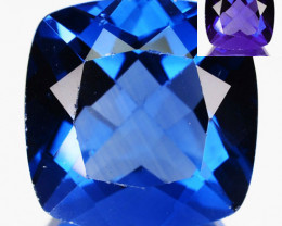 8.32 Cts Natural Color Change Fluorite 12mm Cushion Cut Afghanistan