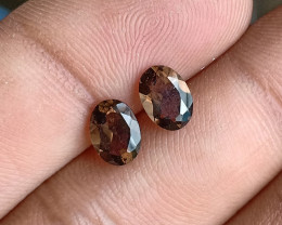 7x5 mm Smoky Quartz Gemstone Pair 100% Natural and Untreated Gems VA144