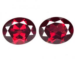 5.67 Cts 2 Pcs Unheated Natural Cherry Pinkish Red Rhodolite Garnet Gemston