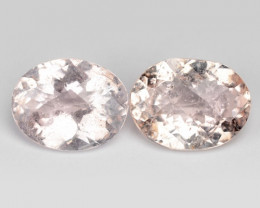 *No Reserve* 3.85 Cts 2pcs Natural Pink Color Morganite Gemstone