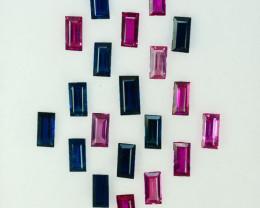 4.88Cts Natural Blue & Pink Sapphires Baguette 5 X 2mm Parcel