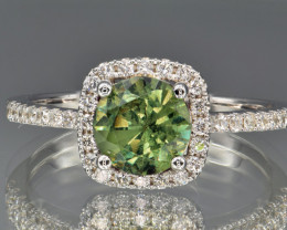 Natural Demantoid Garnet, Diamonds and 14K White Gold Ring, Elegant Design