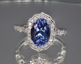 Natural Tanzanite, Diamonds and 14K White Gold Ring, Elegant Design