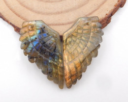 31.5cts New design natural gemstone Labradorite carved Feather shaped earri