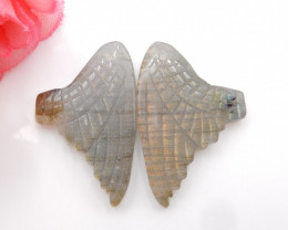 28cts New design natural gemstone Labradorite carved Feather shaped earring