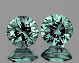 3.80 mm Round 2 pcs 0.44ct Green Sapphire [VVS}