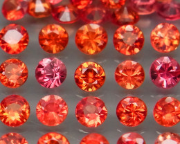 3.81 Ct./35Pcs Round Diamond Cut 2.7 mm.Best Color! Imperial Red Sapphire