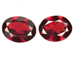 5.03 Cts 2 Pcs Unheated Natural Cherry Pinkish Red Rhodolite Garnet Gemston