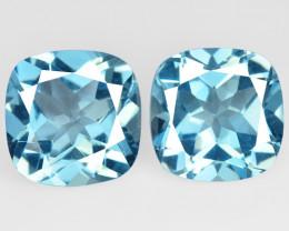 10.17 Carat 2 Pcs  Blue Natural Topaz Gemstones