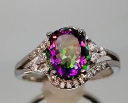 17Crt Mystic Quartz Silver Ring 9 Natural Gemstones JI10