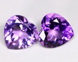 Amethyst 6.09Ct 2Pcs Heart Cut Natural Bolivian Purple Amethyst B2011