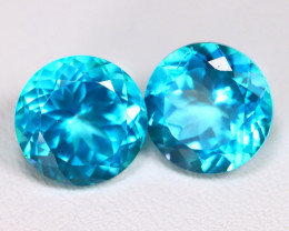 Topaz 9.76Ct 2Pcs VS Round Cut Natural Paraiba Color Topaz C2002
