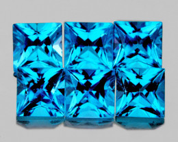 3.80 mm Square Princess 6pcs 2.11cts Swiss Blue Topaz [VVS]