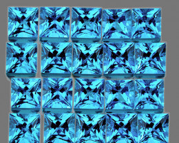 1.80 mm Square Princess 70pcs 2.81cts Swiss Blue Topaz [VVS]