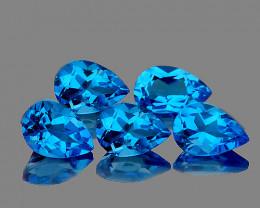 8x5 mm Pear 5 pcs 4.86cts Swiss Blue Topaz [VVS]
