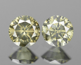 0.16 Cts Paired Untreated Yellowish Grey Color Natural Diamond