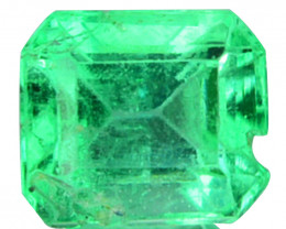 Natural Vivid Green Emerald Octagon Cut Colombia 0.42 Cts ~Cracked~