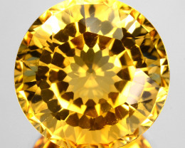 ~CUSTOM CUT~ 7.16 Cts Natural Golden Orange Citrine Round Fancy Brazil