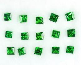 0.94 Cts Natural Vivid Green Tsavorite Garnet 15Pcs Square Cut Parcel Ken