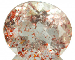 1.93 Cts Natural Strawberry Quartz intense Red Dot Oval Cut Brazil