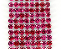 9.98 Ct 82p 2.7mm Round Cut 100% Natural Neon Purple Rhodolite Garnet Malaw