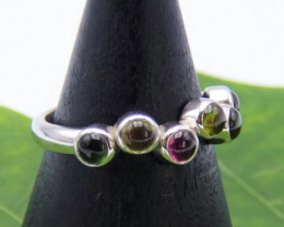 Multicolor Tourmaline ring in 14k, 3.68g white gold,, bohemian masterpiece!