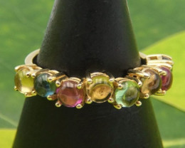 Tourmaline ring, 14k yellow gold 3.48g, 2ct stones, beautiful elegant ring!