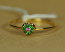 HOT COLOR TSAVORITE & PINK SAPPHIRE 18K GOLD RING $1NR!