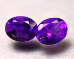 Amethyst 3.68Ct 2Pcs Natural Uruguay Electric Purple Amethyst E2405/A2
