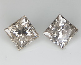 0.95 CT , Diamond Pair , Princess Brilliant Cut
