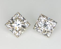 0.98 CT ,Diamond Pair ,  Light Color Diamond , Natural Princess Diamond