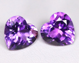 Uruguay Amethyst 6.30Ct 2Pcs Heart Cut Natural Violet Amethyst B2104