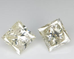 1.31 ct , Princess Brilliant cut , Pair Diamonds