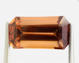 Natural Peachy Orange Zircon, No Heat, Tanzania, Loop Clean, Emerald Cut, 1