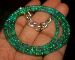 32 Crts Natural Ethiopian Welo Dyed Green Opal Beads Necklace 69