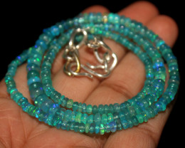 39 Crts Natural Ethiopian Welo Dyed Blue Opal Beads Necklace 54