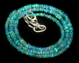 30 Crts Natural Ethiopian Welo Dyed Blue Opal Beads Necklace 61