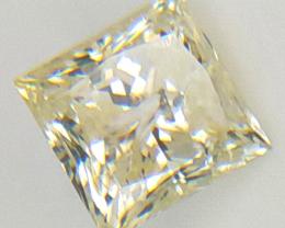 0.68 CT , Light Yellow Color Diamond , Princess Cut